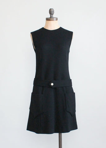 Vintage Early 1970s Black Wool Mod Mini Dress