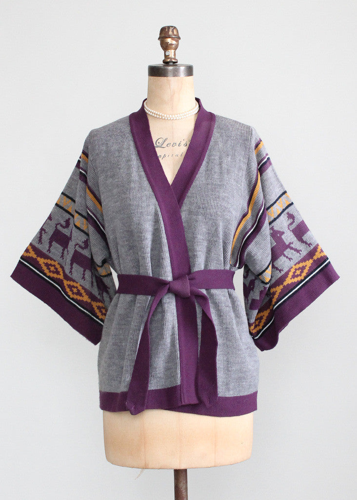 Vintage 1970s Purple Mesopotamian Belted Cardigan