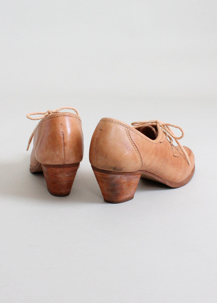 Vintage 1970s Distressed Leather Oxfords Size 6.5 - 7