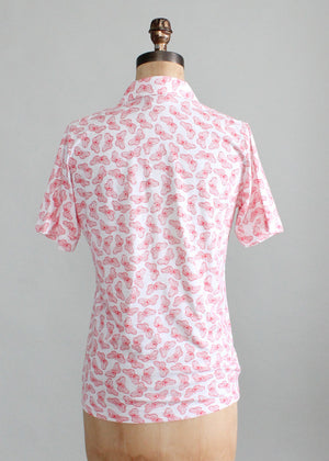 Vintage 1970s Butterfly Print Polo Shirt