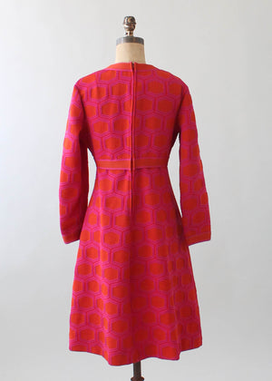 Vintage 1970s MOD Orange and Pink Knit Dress