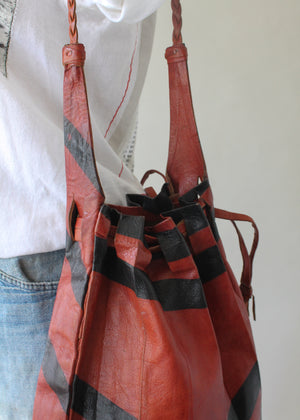 Vintage 1970s Moroccan Leather Drawstring Bag