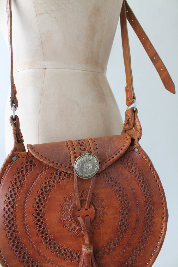 Vintage 1970s Moroccan Tooled Leather Round