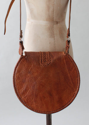 Vintage 1970s Moroccan Tooled Leather Round Purse