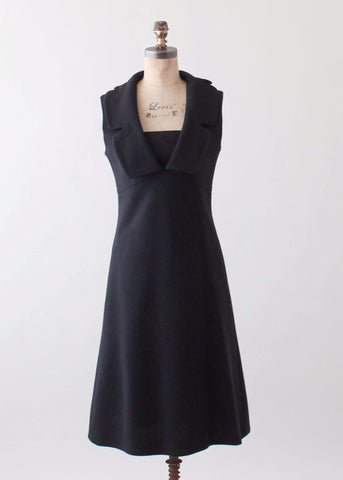 Vintage 1960s Pierre Cardin Minimalist Wool Dress