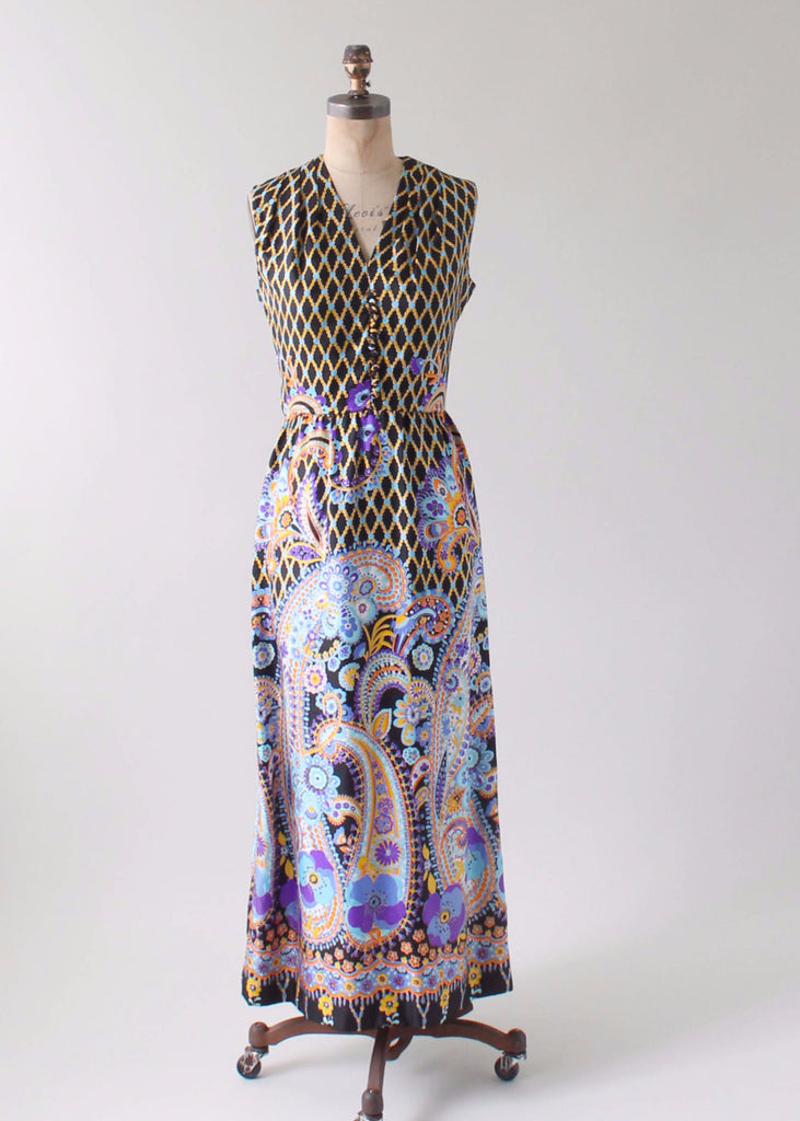 Vintage 1960s Colorful Silk Print Maxi Dress