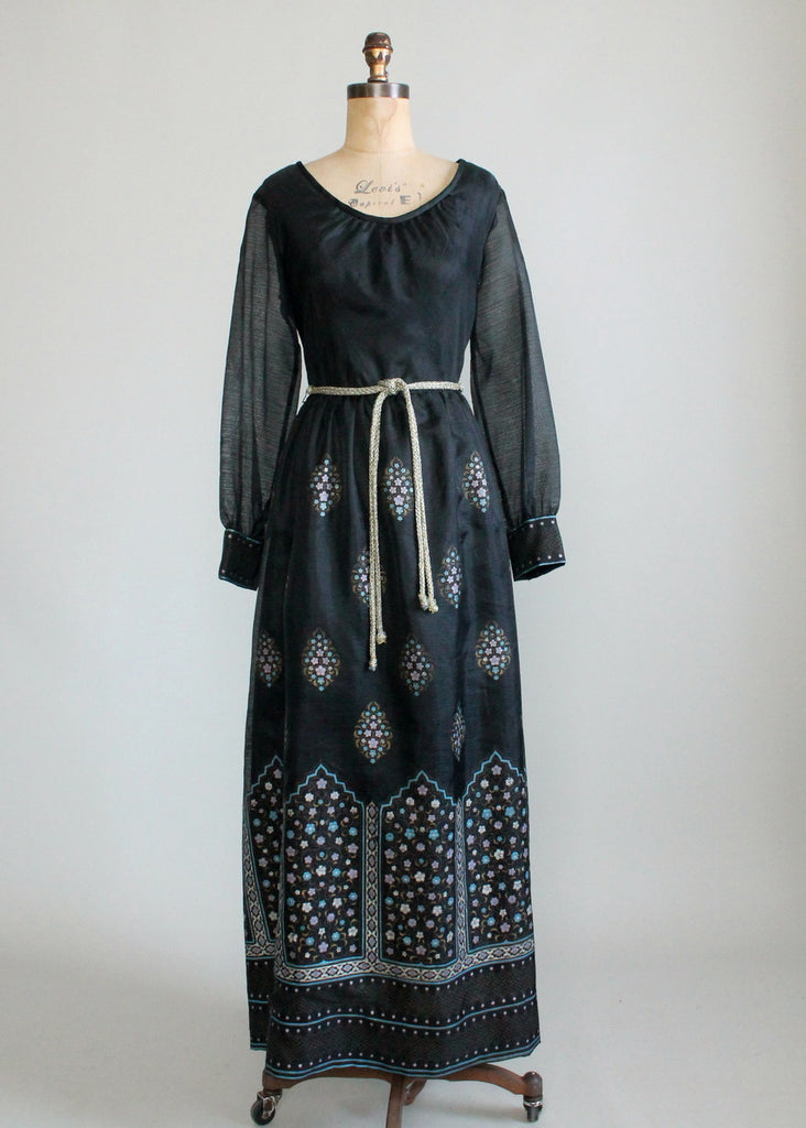 Vintage 1970s Shaheen Screen Printed Maxi Party Dress