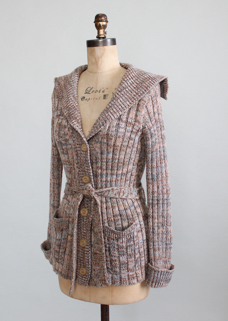 Vintage 1970s Shawl Collar Belted Cardigan