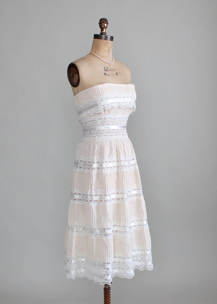 Vintage 1960s Strapless Cotton and Lace Boho Wedding Dress