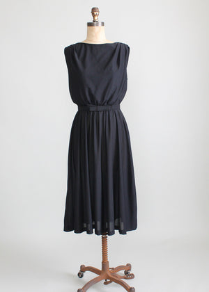 Vintage 1970s Toni Todd Black Draped Back Dress
