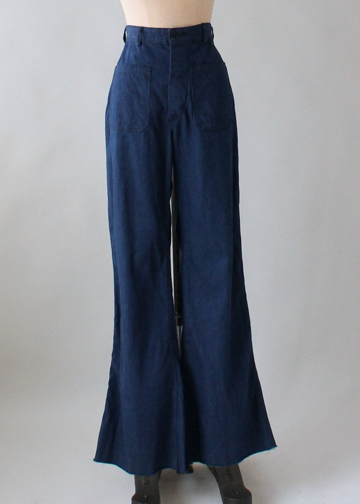 Vintage Late 1960s USN Denim Sailor Pants