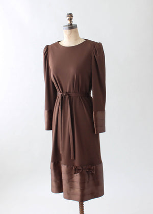 Vintage 1970s Parnes Feinstein Brown Winter Dress