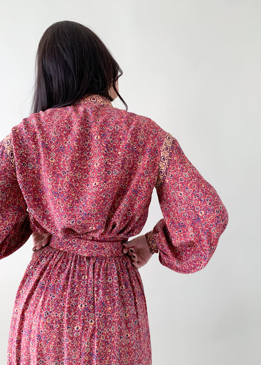 Vintage 1970s Ungaro Silk Peasant Dress Set