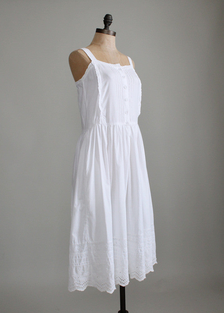 Vintage 1970s White Cotton Eyelet Sundress