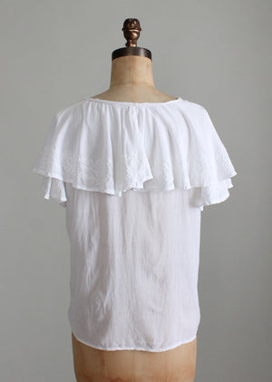 Vintage 1970s White Embroidered Ruffle Blouse