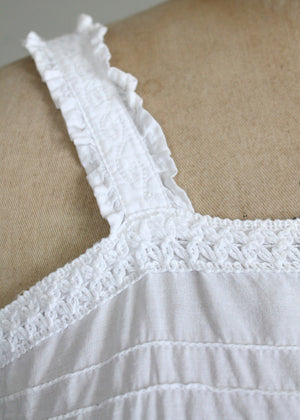 Vintage 1970s Embroidered White Cotton Tank