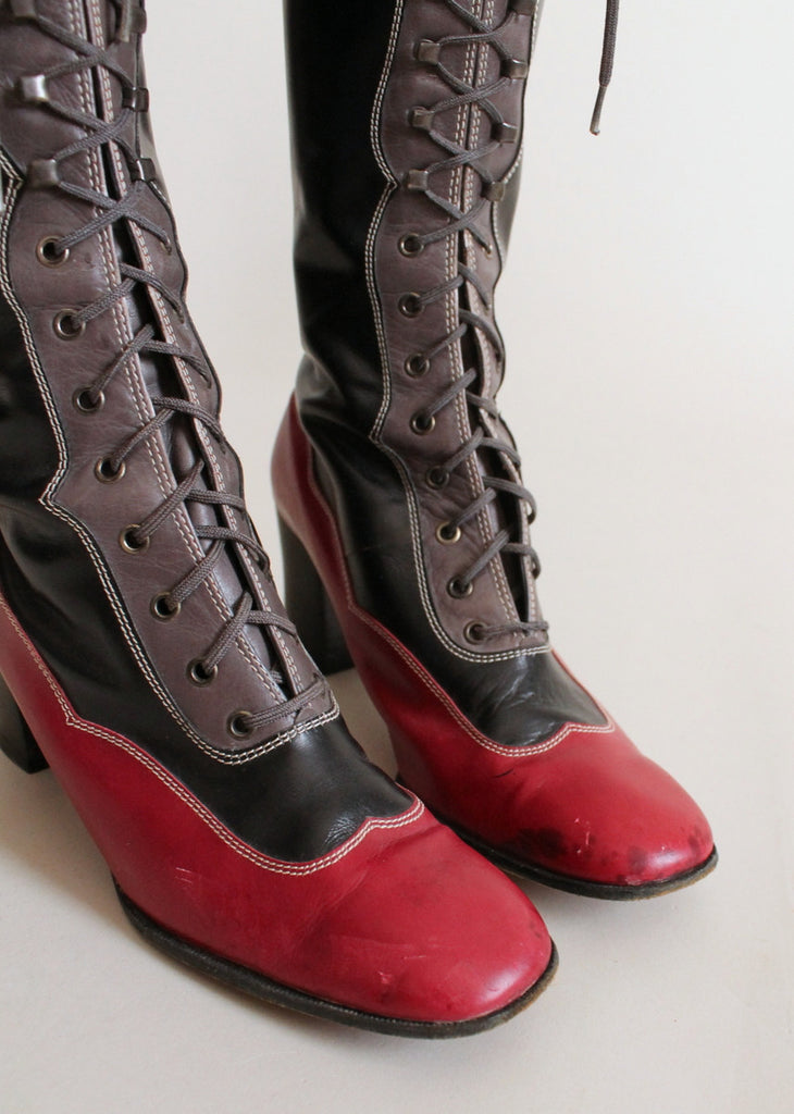 Vintage 1970s Yves Saint Laurent MOD Lace Up Boots