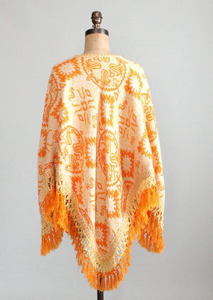 Vintage 1970s Abstract Knit Fringed Poncho