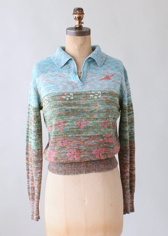 Vintage 1970s Abstract Landscape Sweater