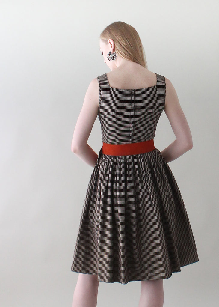 Vintage 1950s Mocha Striped Day Dress