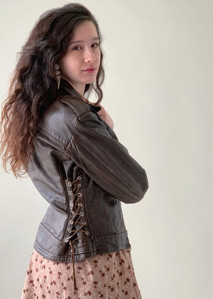 Vintage 1970s Harley Davidson Leather Lace Up Biker Jacket