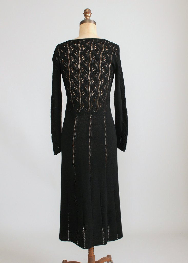 Vintage 1970s Black Knit Asymmetrical Dress