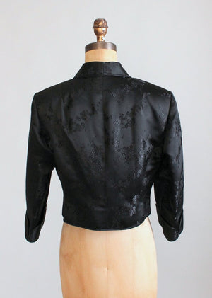 Vintage 1960s Black Silk Asian Print Jacket
