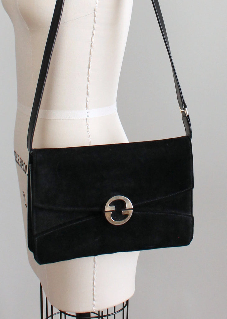Vintage 1970s Gucci Black Suede Shoulder Purse