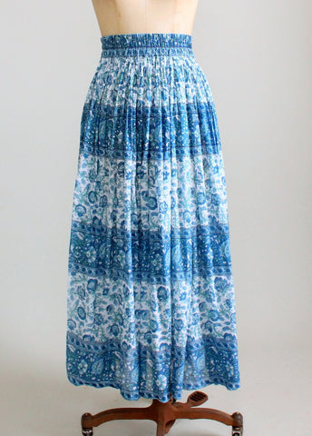 Vintage 1970s Blue Floral Indian Cotton Skirt