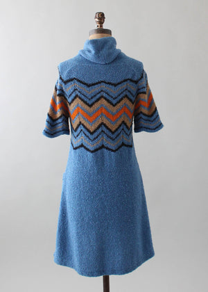 Vintage 1970s Zig Zag Blue Knit Dress