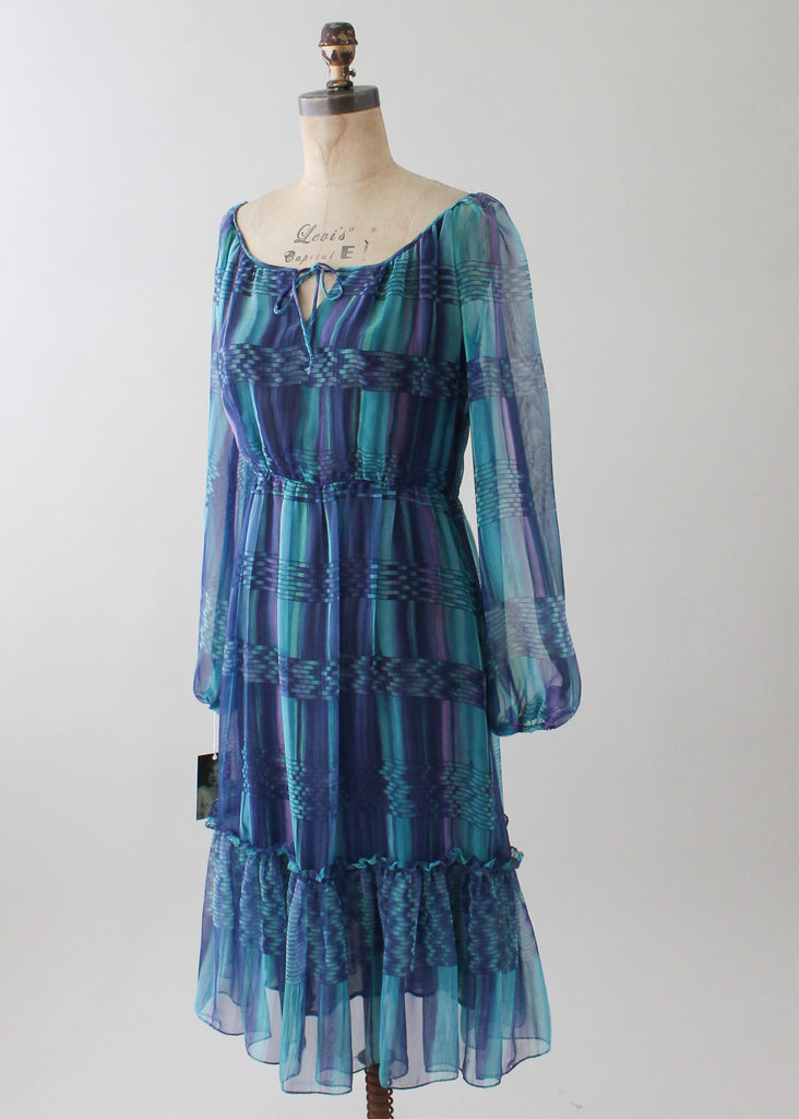 Vintage 1970s Blue Blocks Sheer Dress