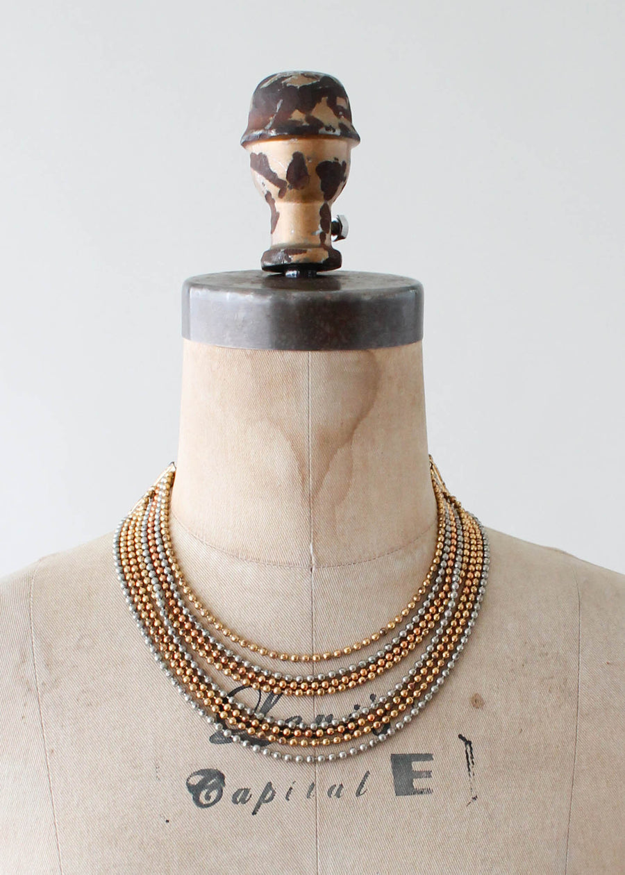 Vintage 1940s Brass Beaded Necklace and Bracelet Set