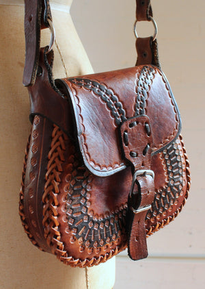 Vintage 1970s Tan and Black Tooled Leather Saddle Purse