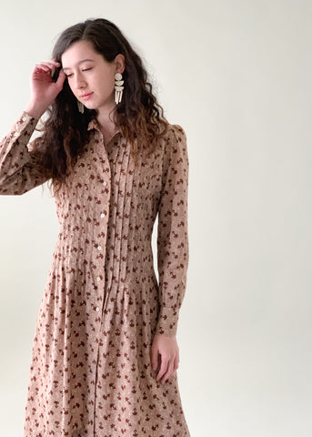 Vintage 1970s Pleat Front Floral Cotton Dress
