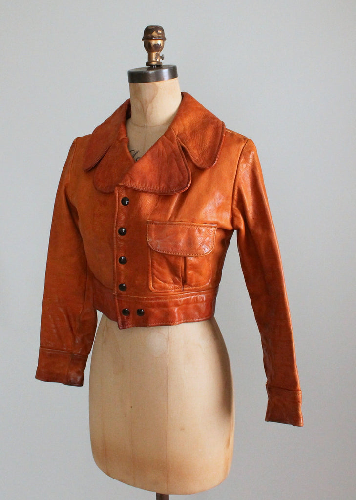Vintage 1970s Brown Leather Cropped Jacket