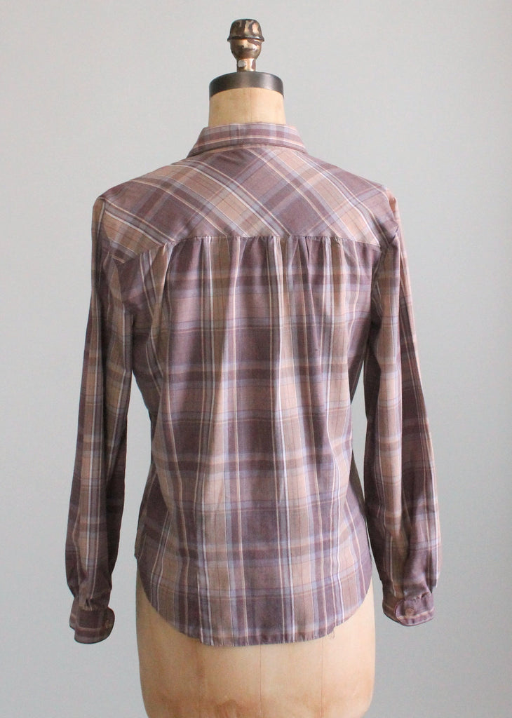 Vintage 1970s Neutrals Plaid Button Down Shirt