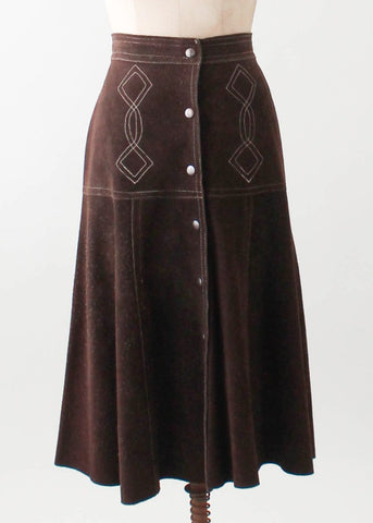 Vintage 1970s Embroidered Suede Snap Front Skirt