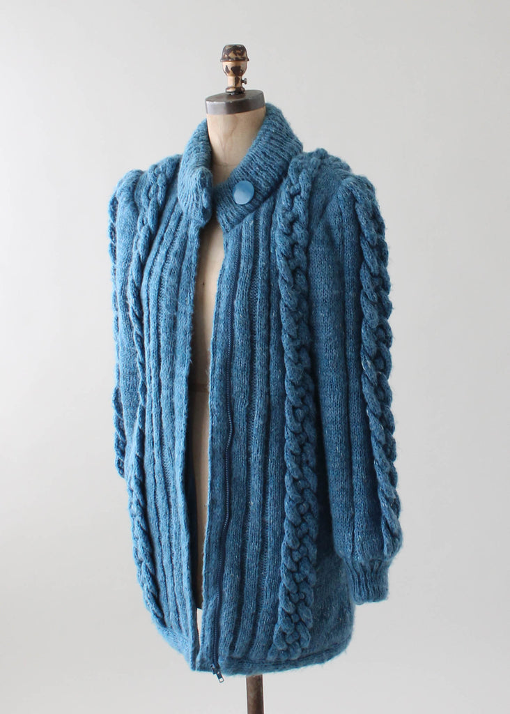 Vintage 1970s Cable Knit Sweater Coat