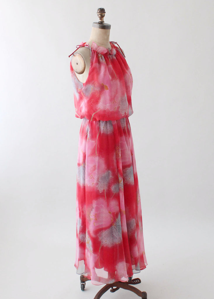 4152686cd2 Vintage 1970s Printed Chiffon Maxi Sundress
