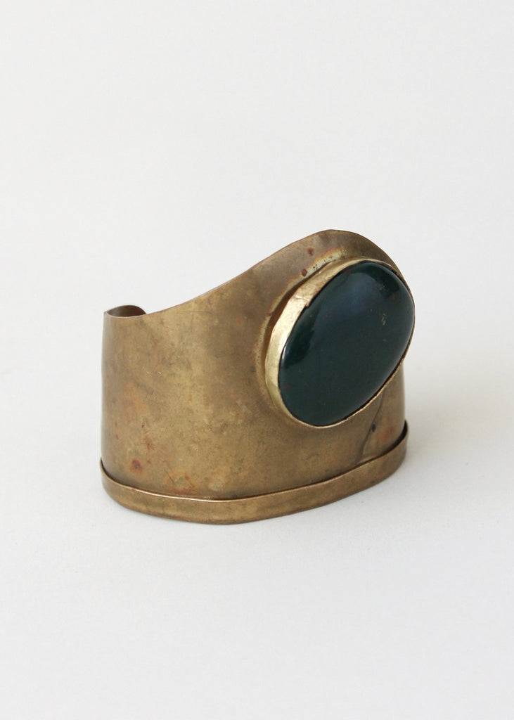 Vintage 1970s Brass and Agate Cuff Bracelet