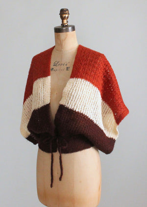 Vintage 1970s Color Block Tie Waist Cardigan