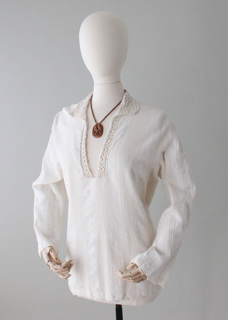 Vintage 1970s Anatolia Cotton and Crochet Tunic Top