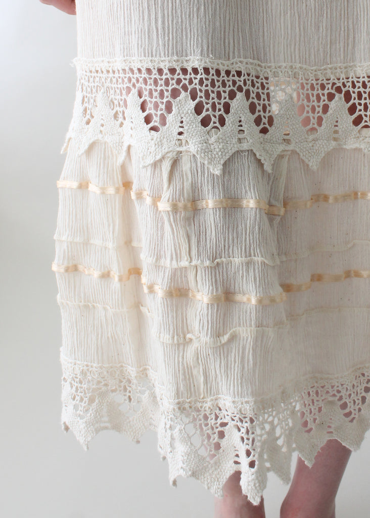 Vintage 1970s Cotton and Lace Summer Dress
