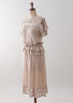 Vintage 1970s Tan Crochet Dress Set
