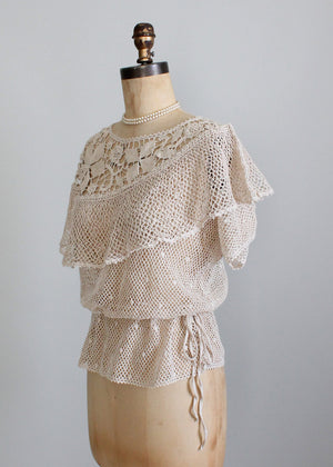 1930s style crochet sweater top
