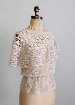 1970s ruffle cape crochet top