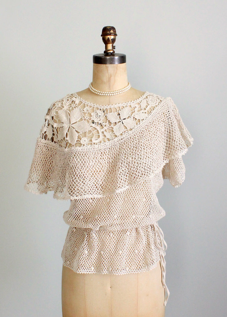 1970s crochet knit summer top