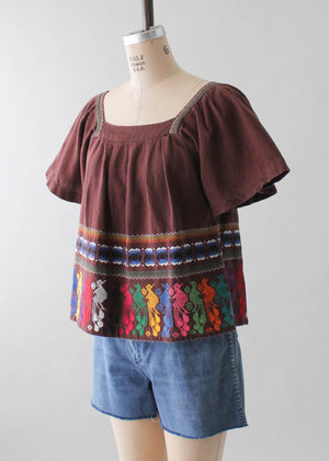 Vintage 1970s Guatemalan Embroidered Cotton Top
