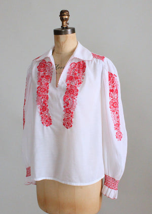 Vintage 1970s Red and White Embroidered Hippie Blouse