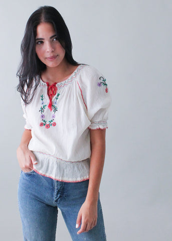 Vintage 1970s Embroidered Peasant Top